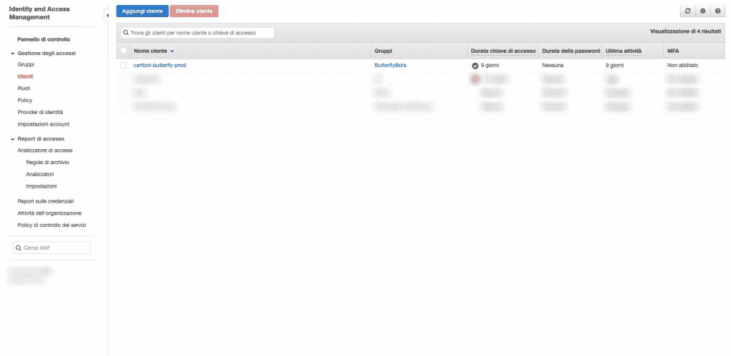 schermata di esempio della gestione utenti e gruppi su aws